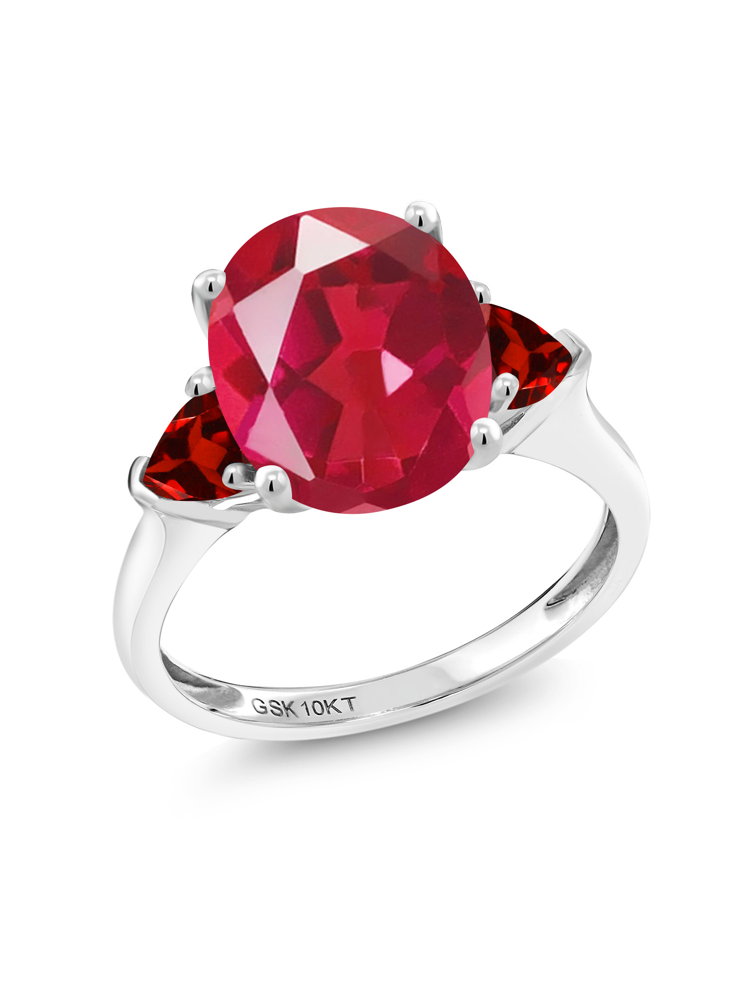 4.28 Ct Oval Last Dance Pink Mystic Quartz Red Garnet 10K White Gold Ring by