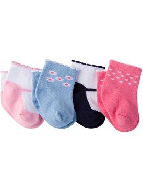 Gerber Ankle Bootie Socks, 4-Pack (Baby Girls)