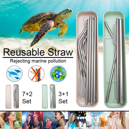 Eco Friendly Set of 10 Stainless Steel Metal Straws Ultra Long 10.5 Inch Reusable Straws For 30Oz Tumblers Rumblers Cold Beverage (4 Straight 4 Bent 2