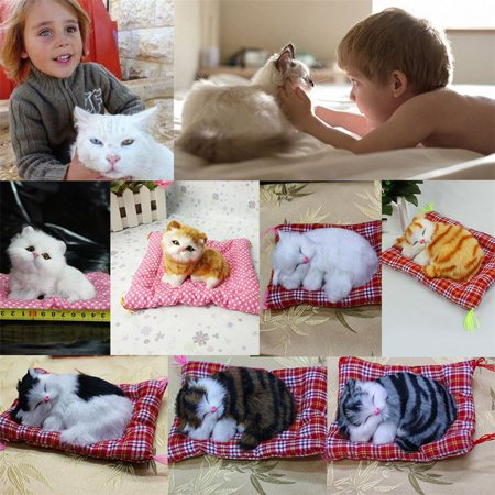 New Lovely Simulation Animal Doll Plush Sleeping Cats With Sound Kids Toy