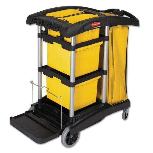 Rubbermaid Commercial HYGEN M-fiber Healthcare Cleaning Cart, 22w x 48-1/4d x 44h, Black/Yellow/Silver -RCP9T73