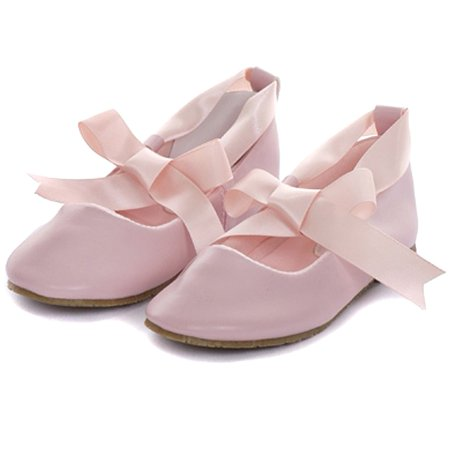 Kids Dream Pink Ballerina Ribbon Tie Rubber Sole Shoes Baby Girl 3-10](Pink Girls Shoes)