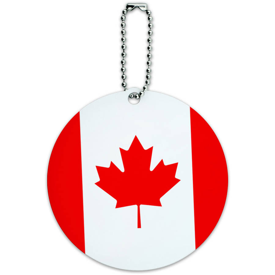 Graphics and More Canada National Country Flag Round Luggage ID Tag Card for Suitcase or Carry-On