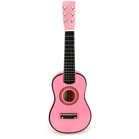 Acoustic Classic Rock 'N' Roll 6 Stringed Toy Guitar Musical Instrument w/ Guitar Pick, Extra Guitar String (Pink)