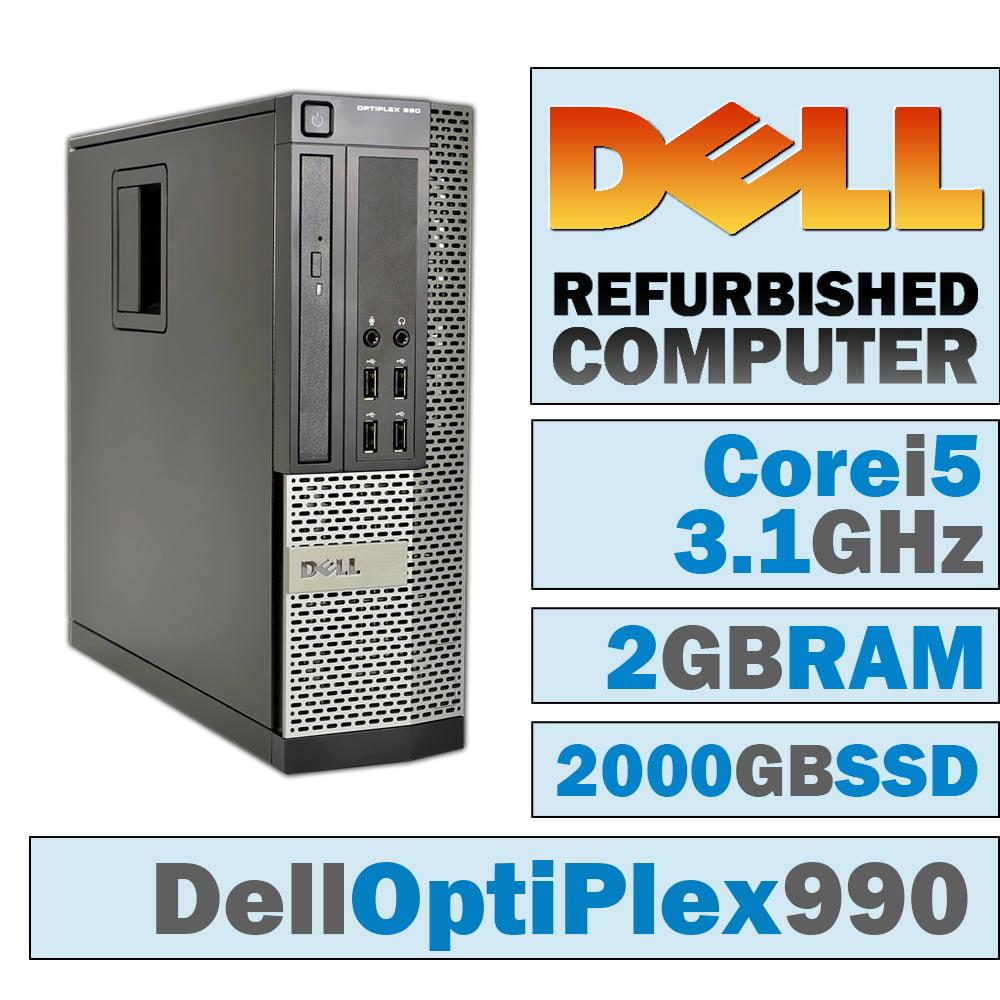 REFURBISHED Dell OptiPlex 990 SFF/Core i5-2400 @ 3.1 GHz/2GB DDR3/NEW 2000GB SSD/DVD-RW/WINDOWS 10 HOME 32 BIT