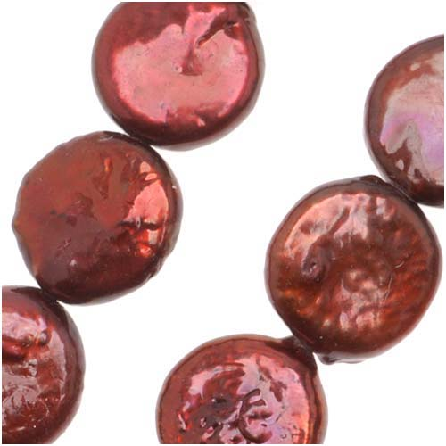 Dark Crimson Red (D) Cultured Coin Pearls 10-13mm 16 Inch Strand