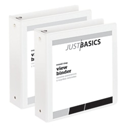 "Just Basics Economy Round-Ring View Binders, 2"" Rings, 61% Recycled, White, Pack Of 2 Binders by"