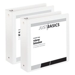 Just Basics Economy Round-Ring View Binders, 2