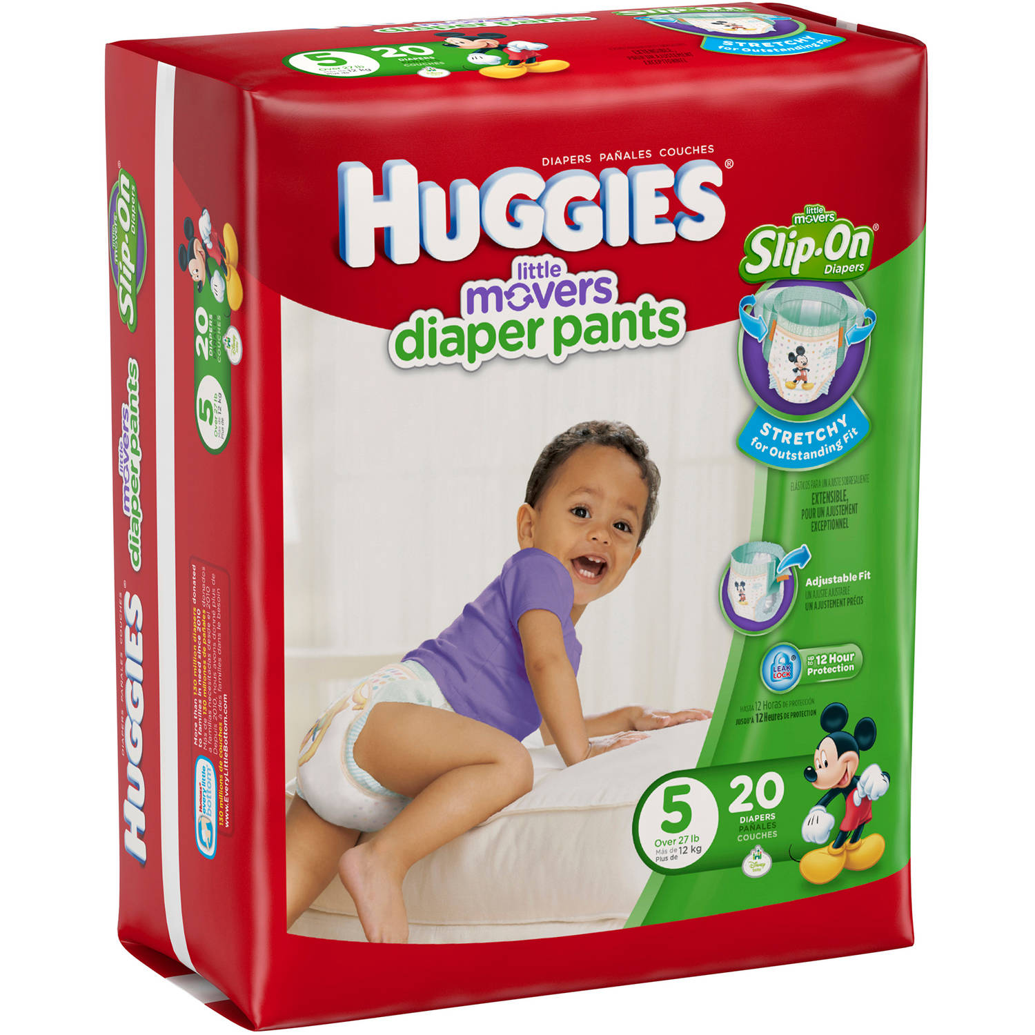 HUGGIES Little Movers Slip On Diapers, Jumbo Pack, Size 5 (20 Diapers)