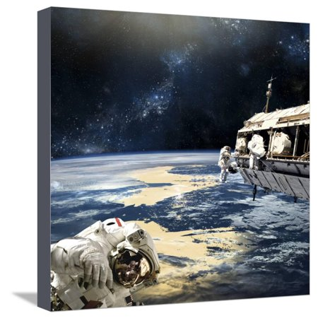 Astronauts Working on Space Station While Orbiting an Earth-Like Planet Stretched Canvas Print Wall Art By Stocktrek (Best Pandora Stations For Working Out)