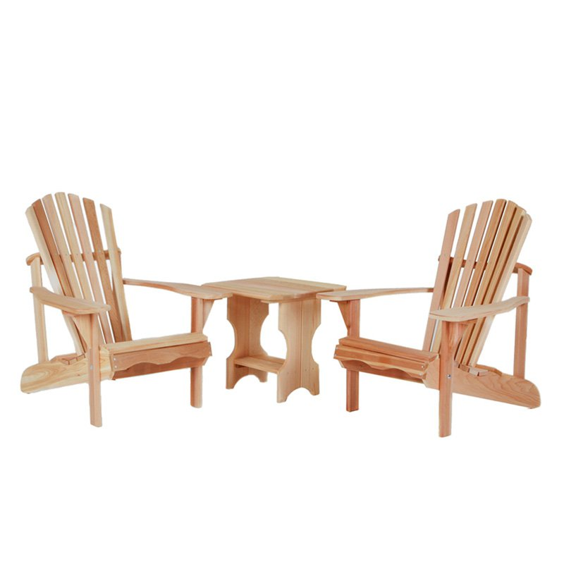 All Things Cedar Adirondack Chairs with Side Table 3 pc. Set Western Red Cedar by All Things Cedar