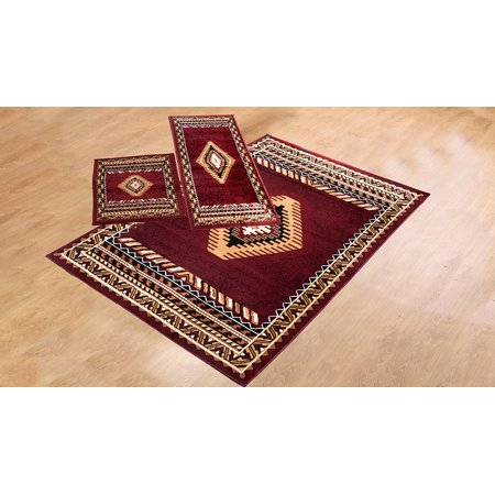 3 Piece Southwestern Contemporary Geometric Area Rug Tucson Burgundy Set