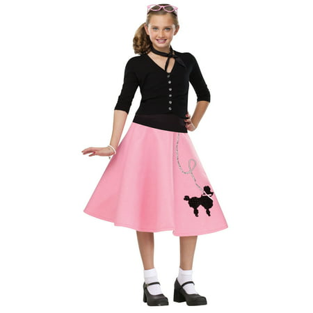 707c0383dbdab Pink Black 1950S Poodle Skirt Child Girls Halloween Costume - Large -  Walmart.com