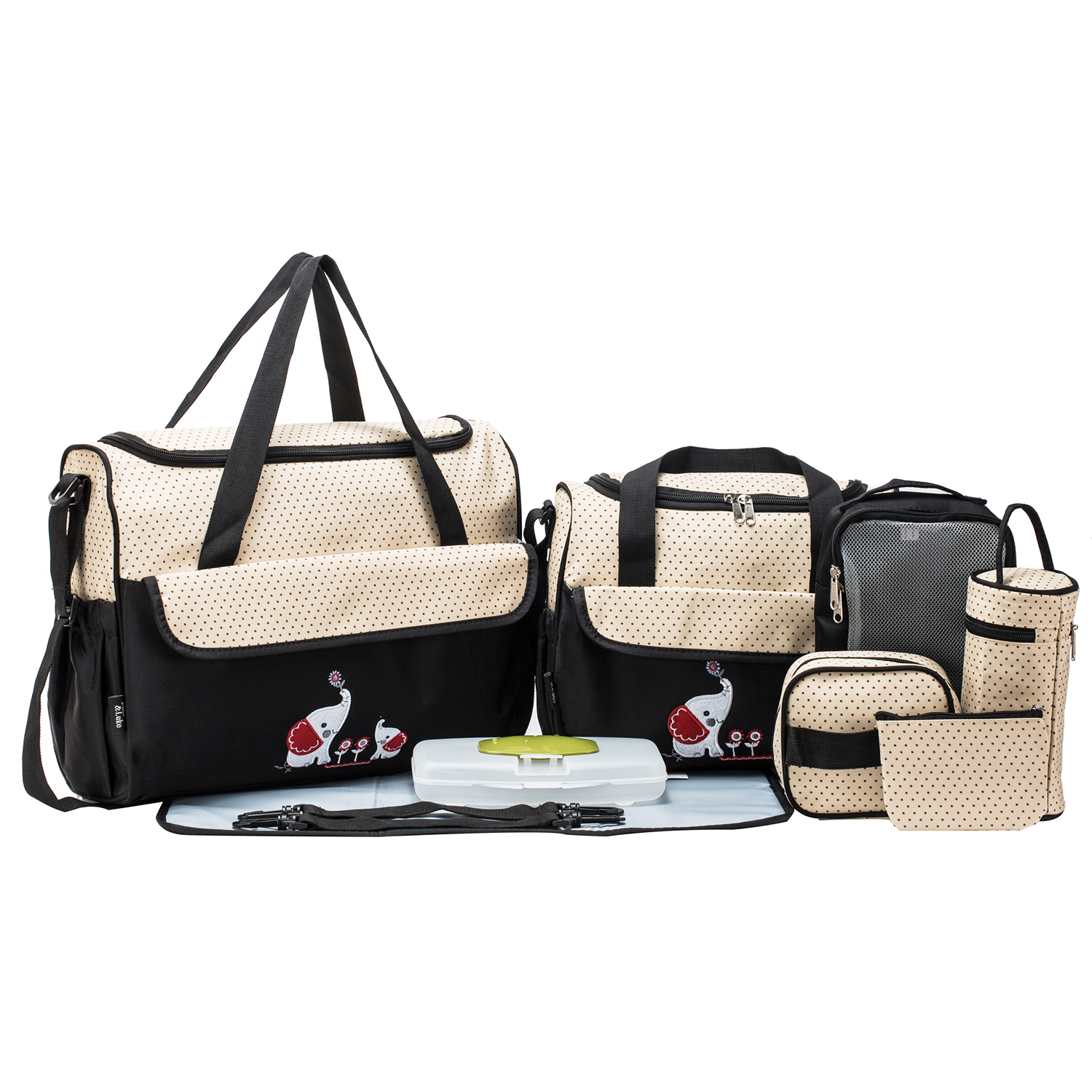 SoHo Collections, Large Capacity Tote Diaper Bag, 10 Piece Complete Set with Stroller Straps (Black with Elephant)