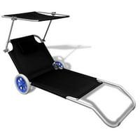 LAFGUR Folding Sun Lounger with Canopy and Wheels Aluminium Black