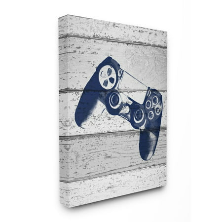 The Kids Room by Stupell Video Game Controller Blue Print on Planks Canvas Wall Art