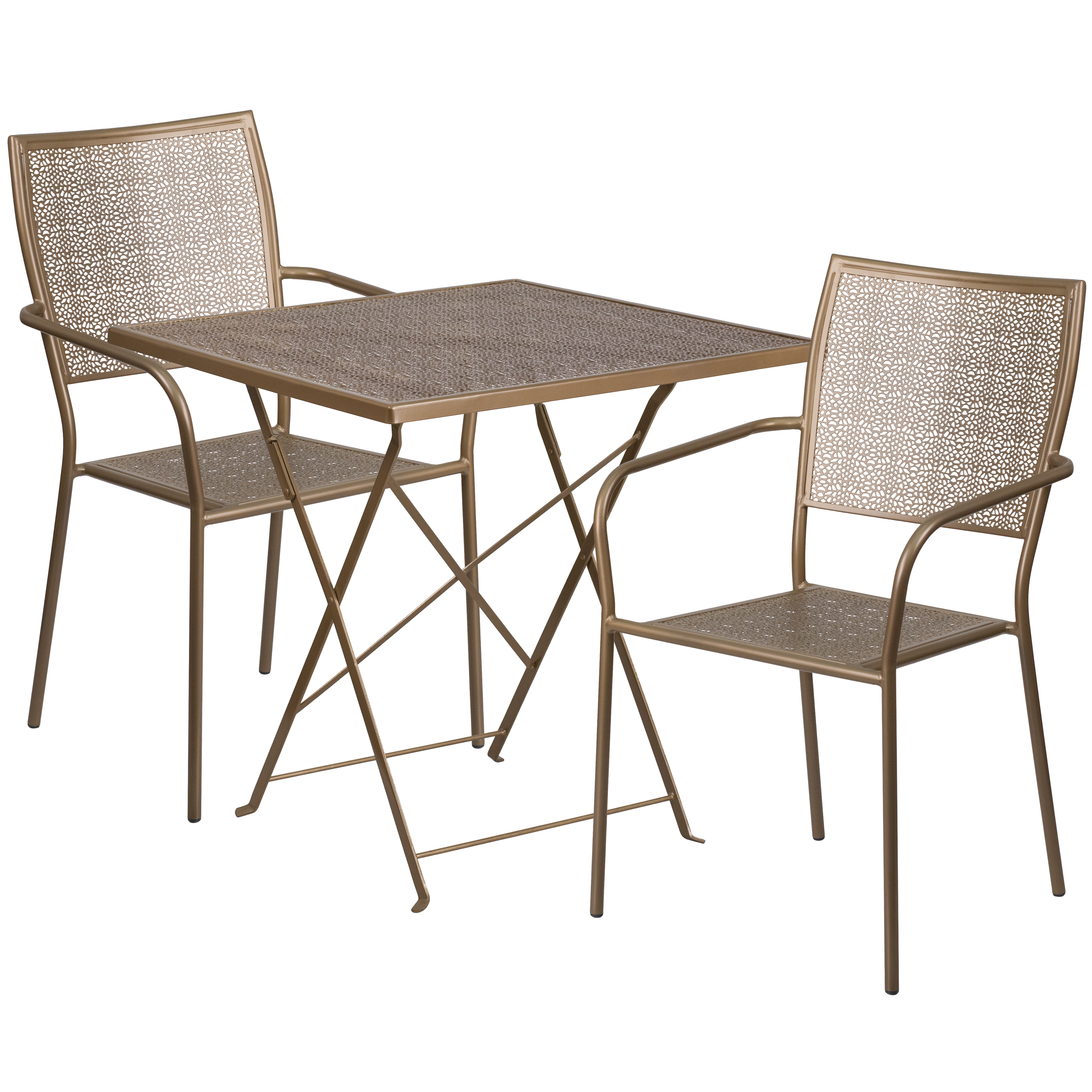 Flash Furniture 28'' Square Indoor-Outdoor Steel Folding Patio Table Set with 2 Square Back Chairs, Multiple Colors