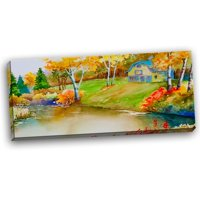 DESIGN ART Designart - House and Quiet Pond in Fall - Landscape Canvas Art Print - Green