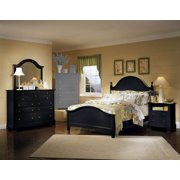 Panel Bed w Nighstand & Triple Dresser Set in Black Finish (Full)
