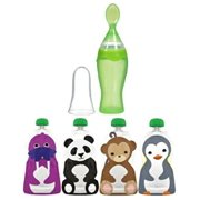 Squooshi Reusable Large Food Pouches with Munchkin Ez Squeezy Spoon
