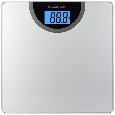 NSPIRE FIT Digital Body Weight Bathroom Scale with Step-On Technology and Large LCD display, 400 Pounds, Silver