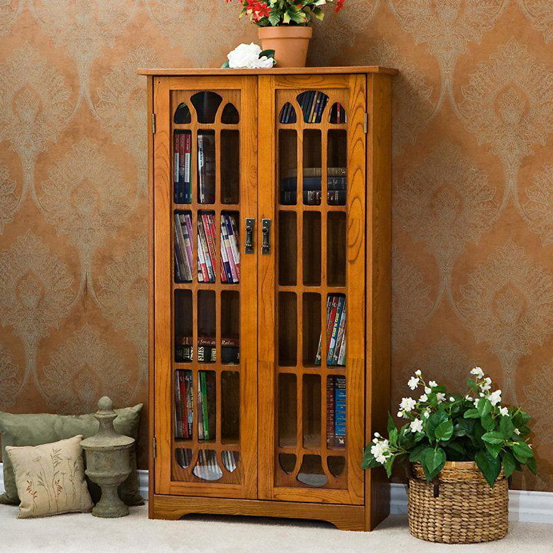 Southern Enterprises Window Pane Media Cabinet Bookcase Oak by Southern Enterprises Inc