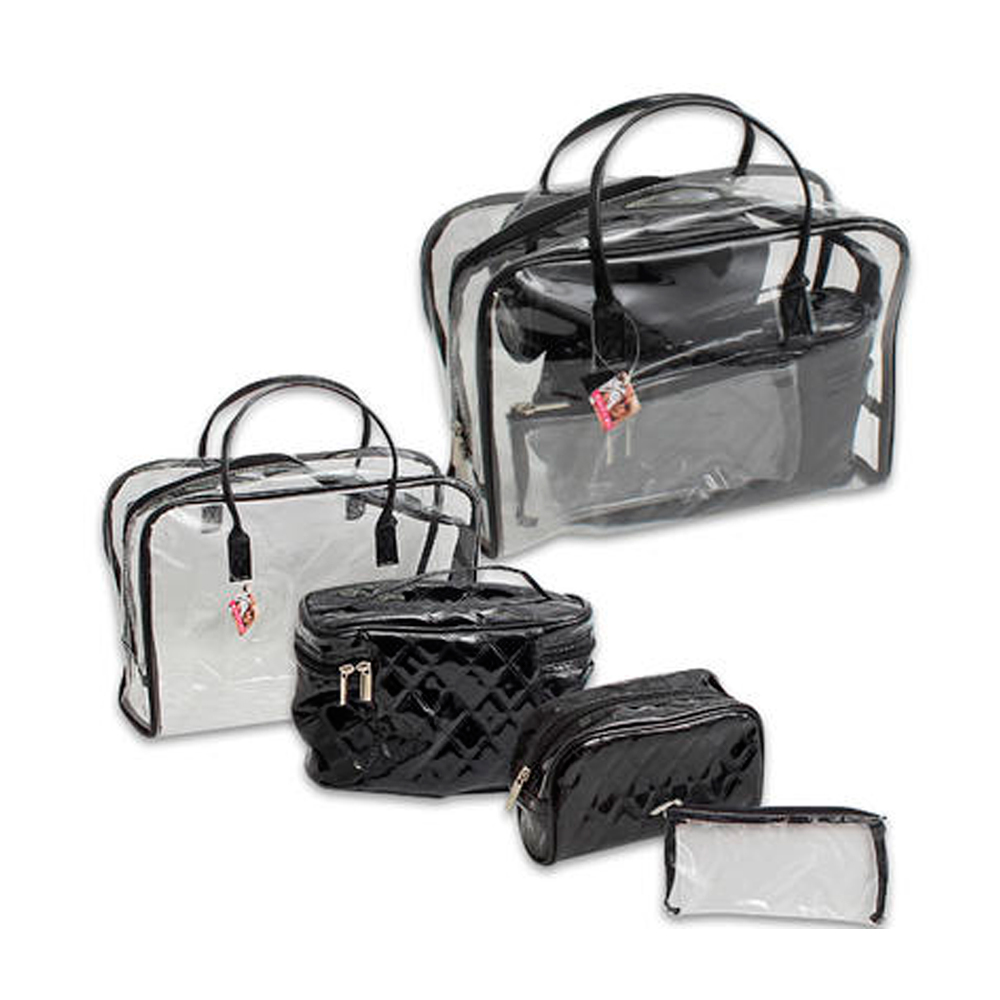 4Pc Clear Transparent Plastic Travel Cosmetic Makeup Toiletry Bag Pouch Zipper by 4SGM