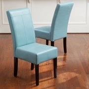 Meeker Teal Blue Leather Dining Chairs (Set of 2)