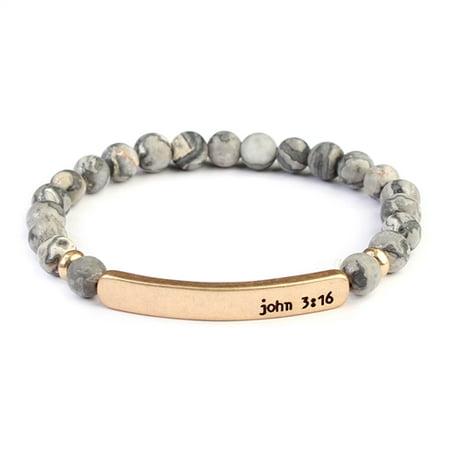 Riah Fashion John 3:16 Bar Natural Stone Bracelet