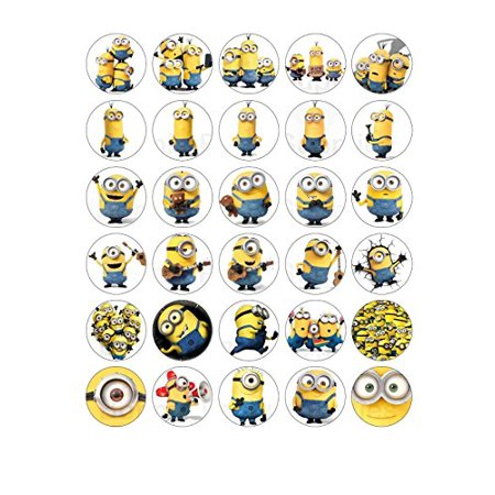 30 x Minion Despicable Me Edible Wafer Cupcake Toppers + 5 FREE