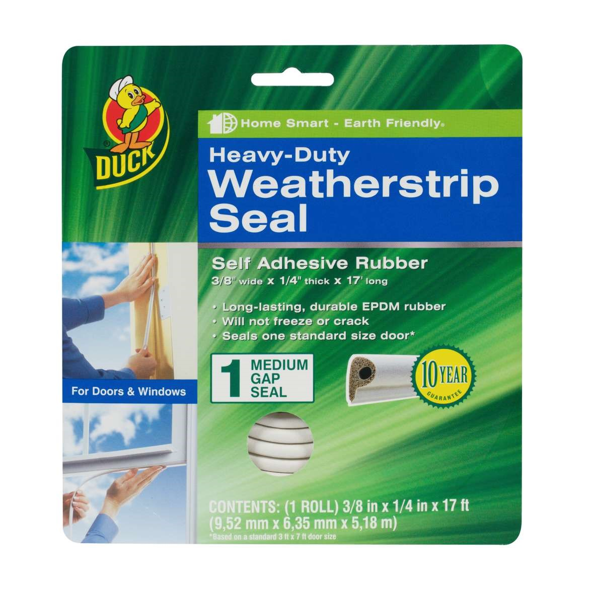 Duck Brand Heavy-Duty Weatherstrip Seal for Medium Gaps, .38 in. x .25 in. x 17 ft.