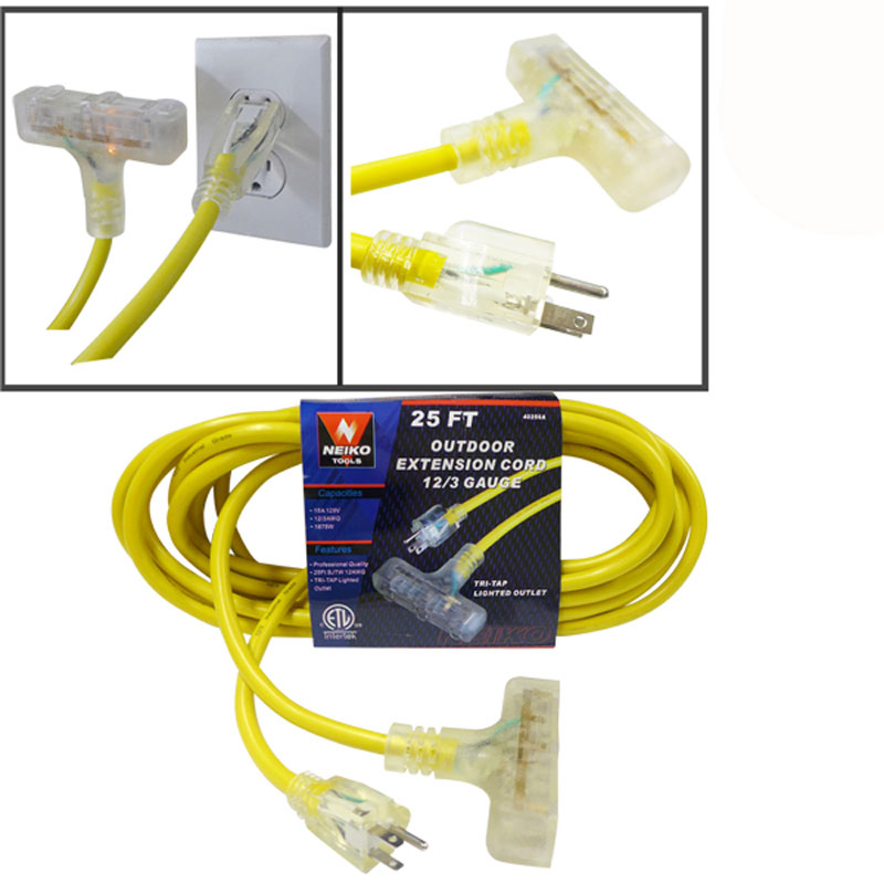 50 Foot Triple Tap Power Extension Cord 12/3 Lighted Outlet Industrial Tri 12 Gauge
