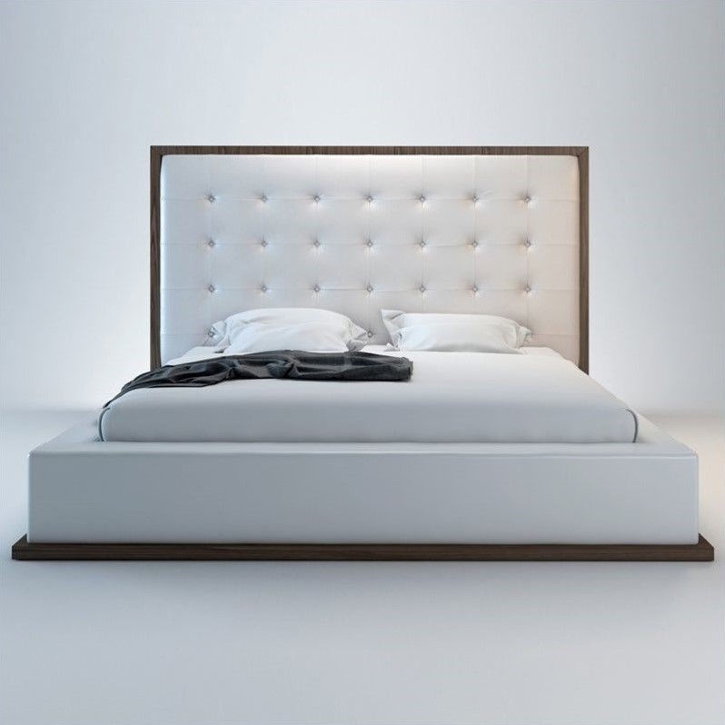 Modloft Ludlow Bed in Walnut and White Leather