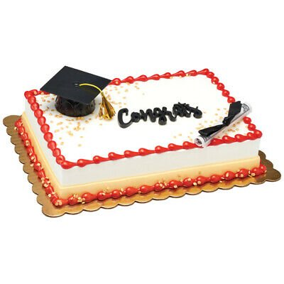 Black Graduation Cap and Large Paper Diploma Cake Topper - National Cake Supply - Paper Graduation Cap