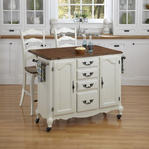 Home Styles French Countryside Oak Kitchen Cart And 2 Stools Off White