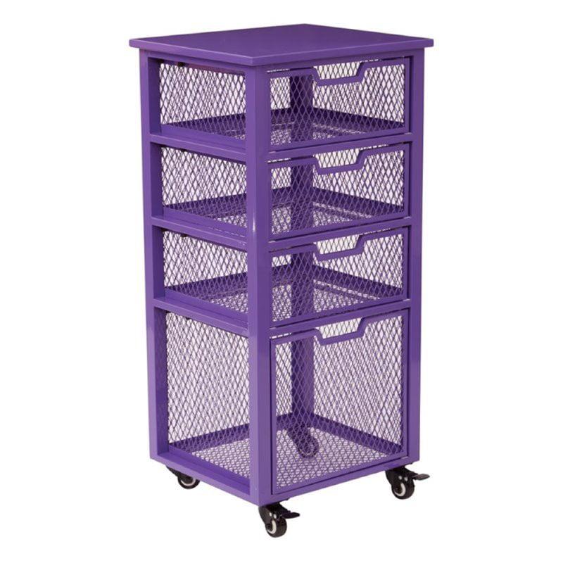 Scranton & Co 4 Drawer File Cart in Purple