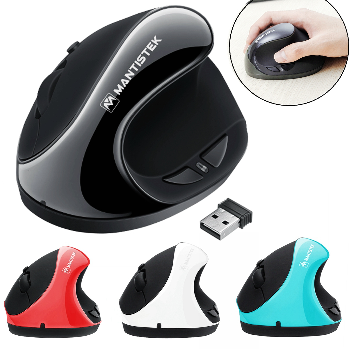 MantisTek VM1 2.4GHz 1600DPI Wireless Bluetooth USB Optical Ergonomic Vertical Mouse Adjustable For PC Laptop Computer