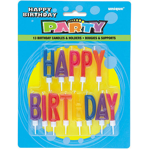 Lettered Birthday Candles and Holders, 13pk