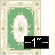 """dollhouse miniature scale rug aubusson green 1 4"""" scale w/3-scale wallet ruler"""