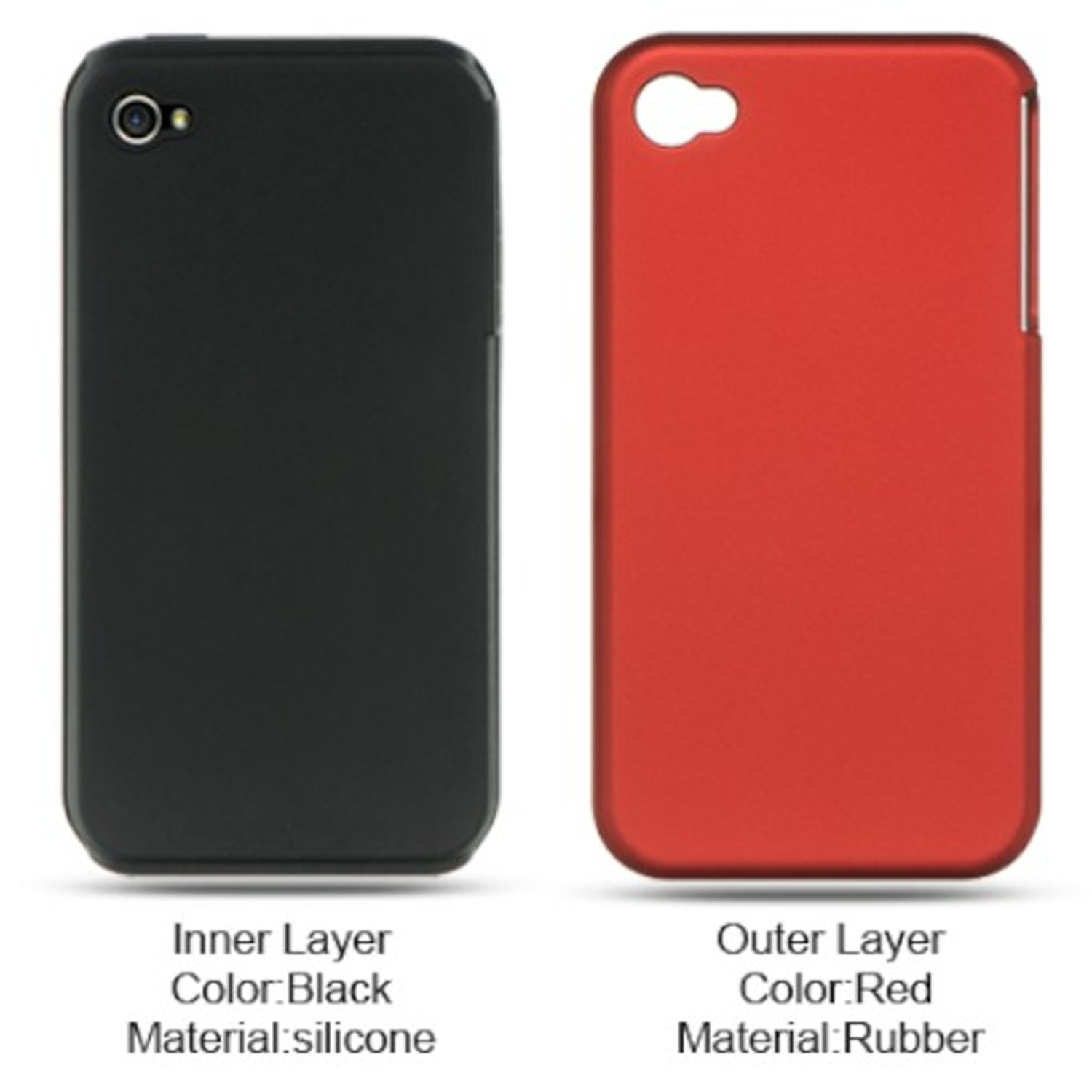 Insten Hard Hybrid Rubber Coated Silicone Case For Apple iPhone 4