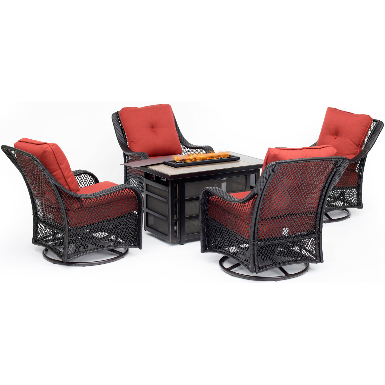 Hanover Orleans 5-Piece Firepit Chat Set with a 30,000 BTU Firepit Table and 4 Woven Swivel Gliders in Autumn... by Hanover
