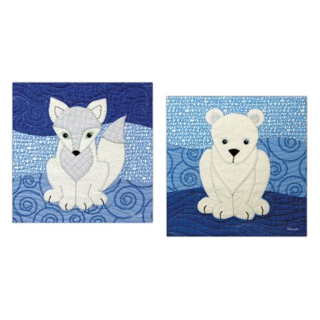 Two Young Arctic Foxes - Popular Adorable Arctic Fox and Polar Bear Set; Two 12x12in Unframed Prints. (Paper Prints, Not Fabric)