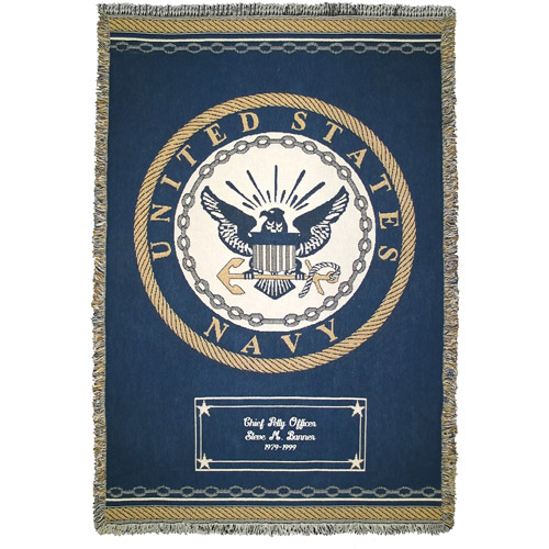 Personalized Military Heroes Throw, Navy