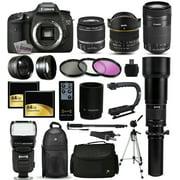 "Canon EOS 7D DSLR SLR Digital Camera with 18-55mm IS II + 6.5mm Fisheye + 55-250 IS STM + 650-2600mm Lens + Filters + 128GB Memory + i-TTL Autofocus Flash + Backpack + Case + 70"" Tripod + 67"" Monopod"