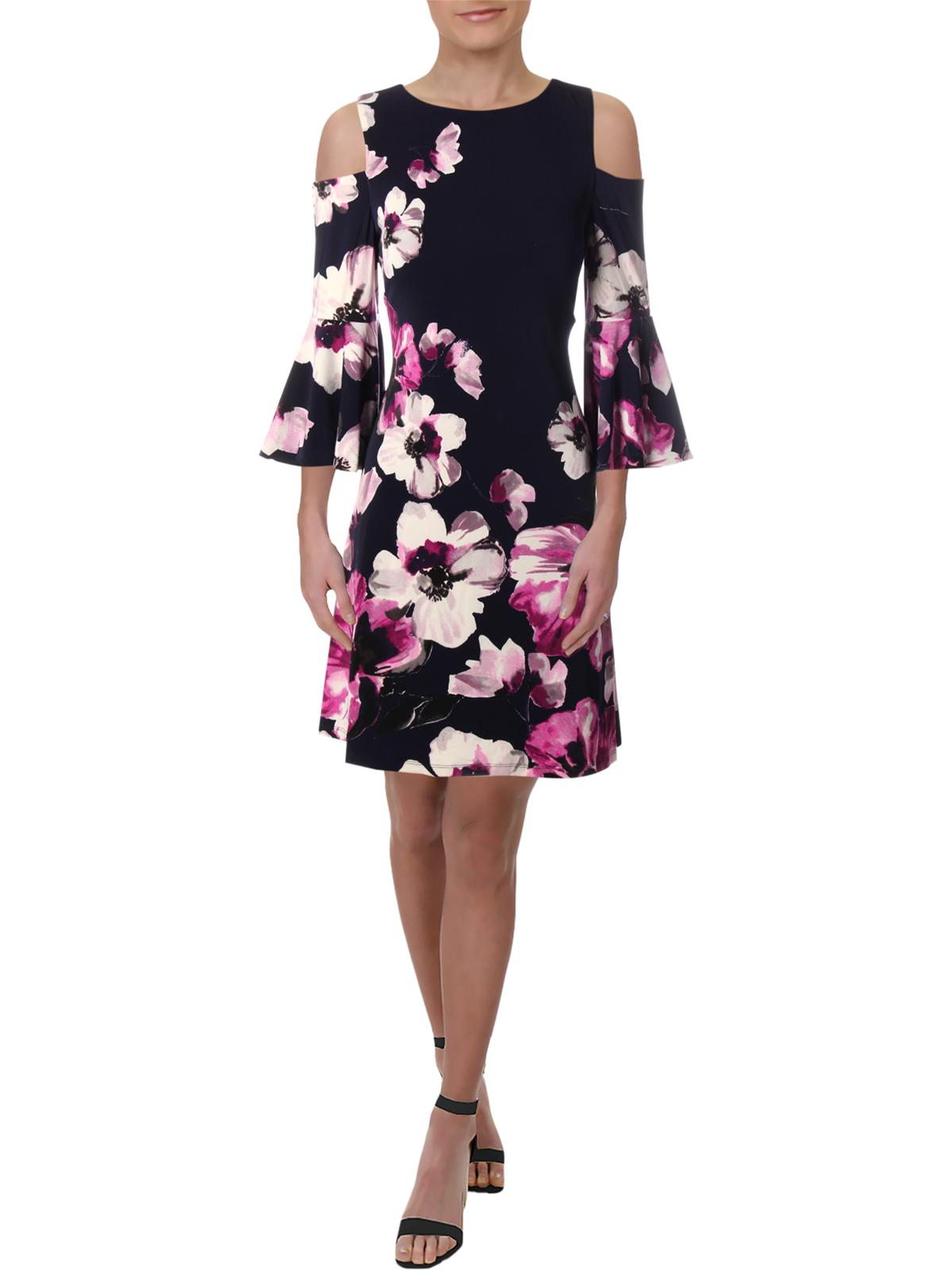 Lauren Ralph Lauren Womens Cold Shoulder Mini Cocktail Dress