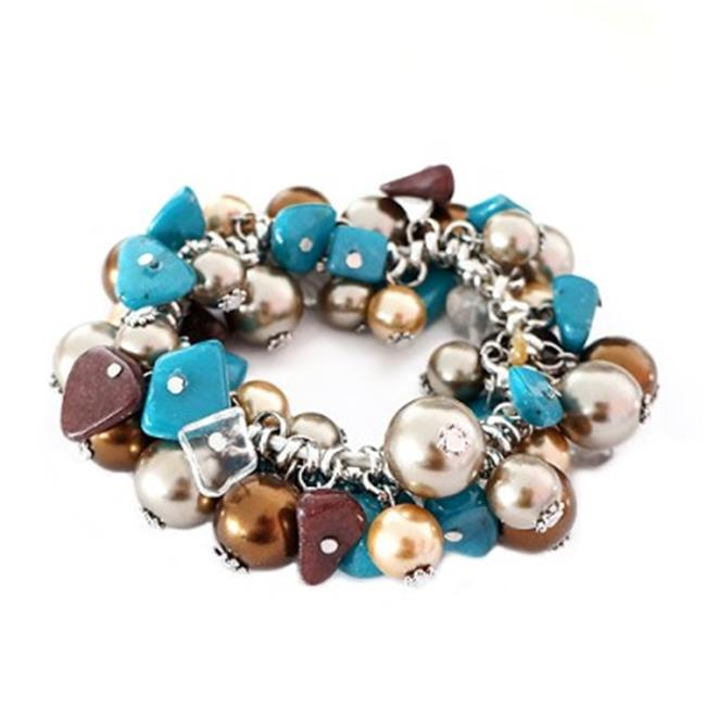 C Jewelry Gold Multicolor Blue And Brown Stretch Bracelet