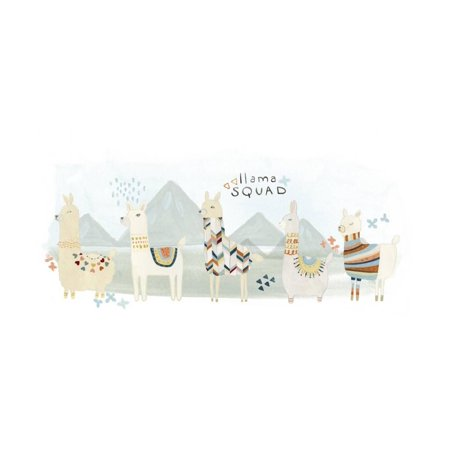 Llama Squad III Cute Boho Bohemian South American Animal Artwork Print Wall Art By June Vess