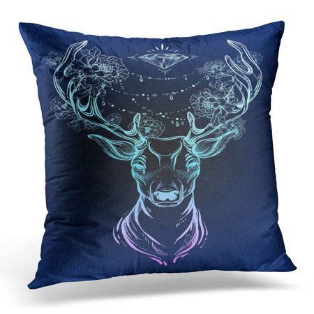 EREHome Beautiful Tribal Deer on Dark Head Decorated with Peony Flowers and Diamond Beads Spiritual Yoga Boho Pillows case 20x20 Inches Home Decor Sofa Cushion Cover - image 1 of 1