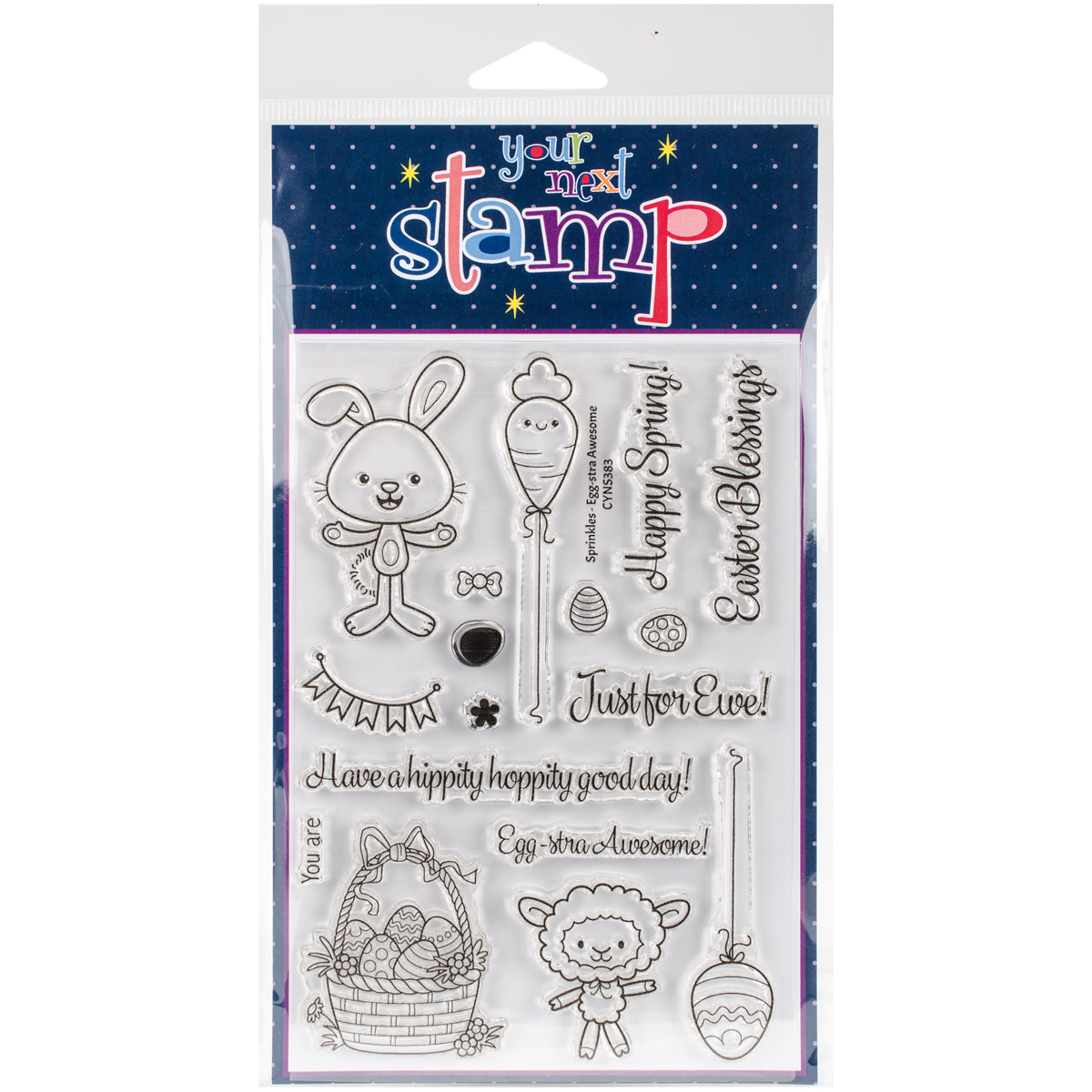 "Your Next Stamp Clear Stamps, 4"" x 6"", Sprinkles-Egg-Stra Awesome"