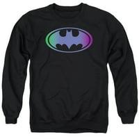 BATMAN/GRADIENT BAT LOGO - ADULT CREWNECK SWEATSHIRT - BLACK - 2X